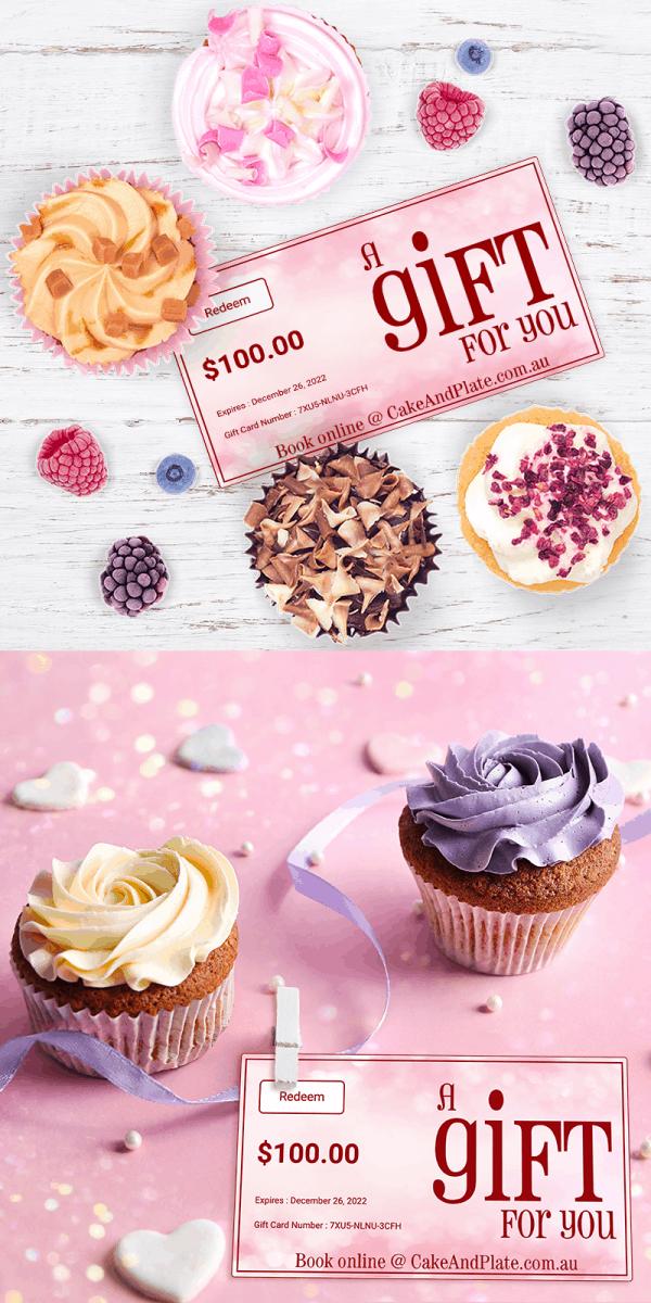 Voucher - Gift - Gift Card - Present - Cupcake - classes - events - teach - learn - cake - handmade - bakery - celebration - Niagara Park - NSW - Sydney - CakeAndPlate.com.au - © 2019
